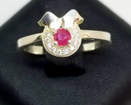 Natural Burma Heated Ruby Silver Ring With Cubic Zirconia