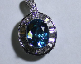 Blue Zircon 6.00ct Natural Diamonds 1.01ct Solid 18K White Gold Pendant