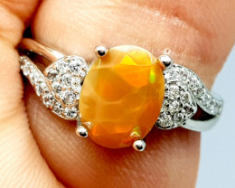 Natural Beautiful Multi Fire Opal Ring 925 Sterling Silver