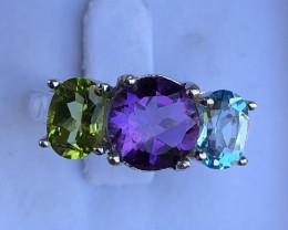 Natural Amethyst Blue Topaz And Peridot 925 Silver Ring