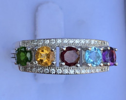 Natural Amethyst Citrine Blue Topaz And Mix Stones 925 Silver Ring