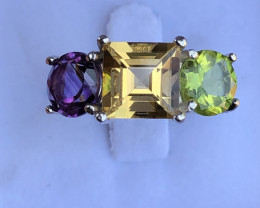 Natural Citrine Amethyst And Peridot 925 Silver Ring