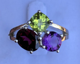 Natural Amethyst Garnet And Peridot 925 Silver Ring
