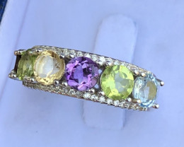 Natural Amethyst Citrine Peridot And Mix Stones 925 Silver Ring