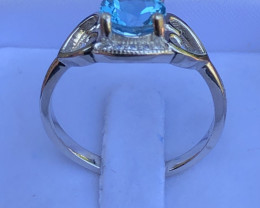Natural Swiss Blue Topaz 925 Silver Ring