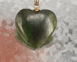 Natural Nice Green Color Burma Jade  pendant 18.20 Ct. in Stainless Steel