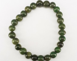 Natural Green Color Burma Jade Bracelet 94.45 Ct. in Stainless Steel