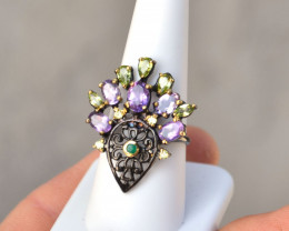 Amethyst and Peridot Ring in Sterling Silver -- 5.41 Grams