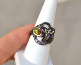 Opa and Amethyst Ring in Sterling Silver