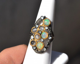 Opal and Moonstone Sterling Silver Ring