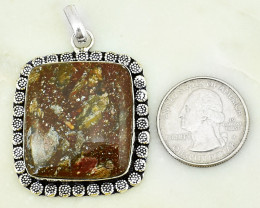 Genuine 95.00 Cts Agate Tibet Silver Pendant
