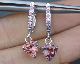 Tourmaline with Pink Sapphire in Silver Earrings, Precision Cut