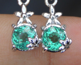 """Paraiba Colored """"Apatite"""" with  Sapphire in Silver Earrings"""