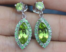 Peridot wtih Tsavorite in Silver Earrings
