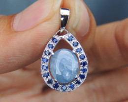 Burmese Sapphire,  No Heat in Silver
