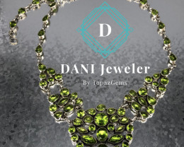 Natural Peridot 925 Silver  Necklace  by DANI Jewellery