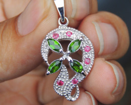 Chrome Diopside, with Pink Sapphire in Silver