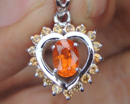 Mandarin Spessartite, with Sapphire in Silver