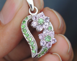 Tsavorite, with Pink Sapphire in Silver