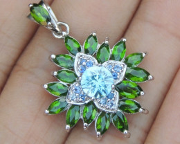 Cambodian Blue Zircon,  Chrome Diopside and Sapphire in Silver