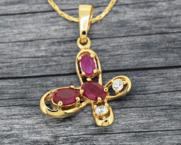 Ruby Simulant Goldfilled Butterfly pendant