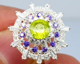 Natural Peridot With Small Zircon 925 Sterling Ring