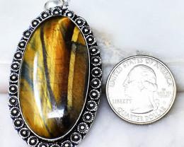 Genuine 95.00 Cts Tiger Eye Tibet Silver Pendant