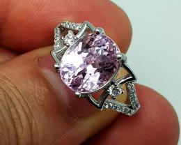 Natural Pink Kunzite 23.85 Carats 925 Silver Ring