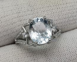 Natural Blue Aquamarine Ring 925 Silver 20.25 Carats From Pak