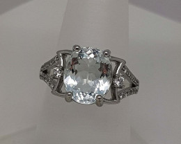 Natural Blue Aquamarine 20 Carats 925 Silver Ring
