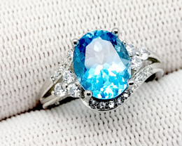 Natural Blue Topaz 18.95 Carats 925 Silver Ring