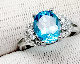 Natural Blue Topaz 19.55 Carats 925 Silver Ring