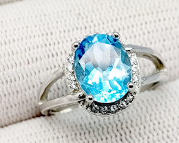 Natural Blue Topaz 18.35 Carats 925 Silver Ring