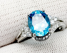 Natural Blue Topaz 19.85 Carats 925 Silver Ring