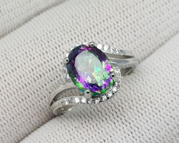 Mystic Topaz 17.45 Carats 925 Silver Ring