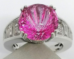 Mystic Pink Topaz and White Topaz Ring 11.50 TCW