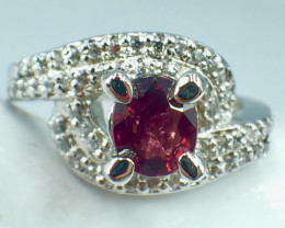 0.85 crt Natural Ruby Unheated Mozambiq Quality Gemstone. Silver 925 Ring.