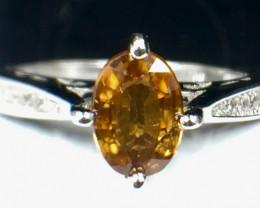 Natural Zircon Gemstone. Silver 925 Ring. DZN 98