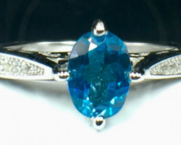 Natural Topaz Gemstone. Silver 925 Ring. DTP 110