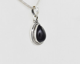 BLACK ONYX PENDANT 925 STERLING SILVER NATURAL GEMSTONE JP119