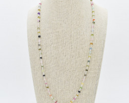 TOURMALINE NECKLACE NATURAL GEM 925 STERLING SILVER JN63
