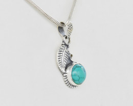 TURQUOISE PENDANT 925 STERLING SILVER NATURAL GEMSTONE JP173