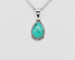 TURQUOISE PENDANT 925 STERLING SILVER NATURAL GEMSTONE JP113