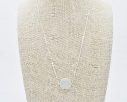 CHALCEDONY NECKLACE NATURAL GEM 925 STERLING SILVER JN86