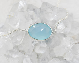 CHALCEDONY NECKLACE NATURAL GEM 925 STERLING SILVER JN74