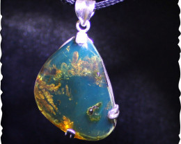 Biggest 2.0 inch Natural Clear Sky Blue Amber .925 Sterling Silver Pendant