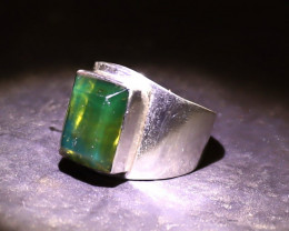 Faceted Dominican Natural Translucent Orange Green Amber .925 Sterling Silv