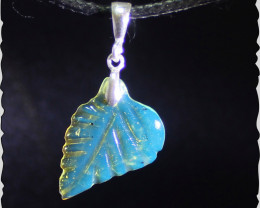 Exquisite Crystal Clear Sky Blue Amber .925 Sterling Silver Carving Pendant