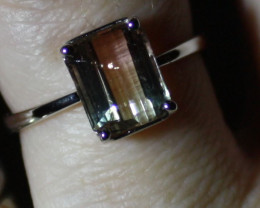 Watermelon Tourmaline 3.40ct Solid 18K White Gold Solitaire Ring