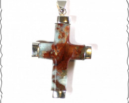 Charming Design  Sky Blue Red Larimar .925 Sterling Silver Cross Pendant 2.